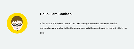 Bonbon Homepage Welcome-Message